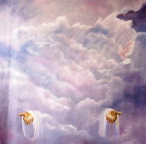 Header-Jesus' Hands In Clouds